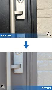 塗装前後のドア